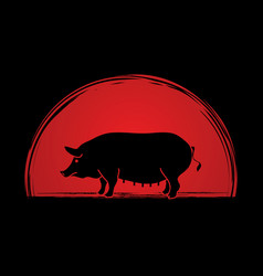 fat pig standing vector image vector image