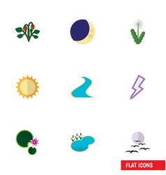 Flat icon bio set of tributary pond floral and vector