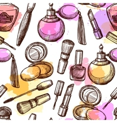 Hand Drawn Cosmetics Seamless Pattern vector image