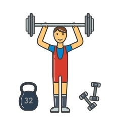 Handsome power athletic man in training pumping up vector image