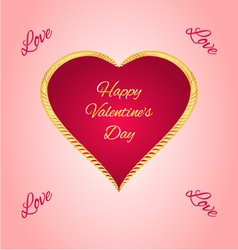 Happy Valentine day gilded heart vector image vector image