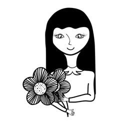 Happy woman with hairstyle and flowers vector