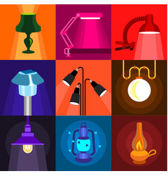 House light icons set flat style vector
