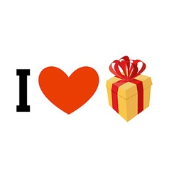 I love gifts Heart and box with bow Logo for fans vector image