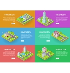 Isometric City Web Banners set vector image vector image