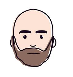 Nice face man with beard and bald vector