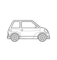 Outline compact city car body style icon vector