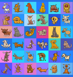 Pattern with cartoon dogs design vector