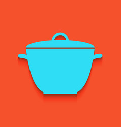 Saucepan simple sign whitish icon on vector