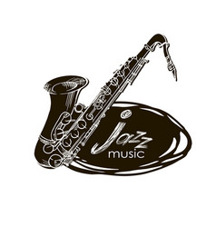 saxophone doodle hand drawn sketch vector image vector image