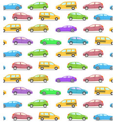 Seamless pattern with colored cars vector
