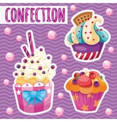Three tasty cakes on a pink background vector