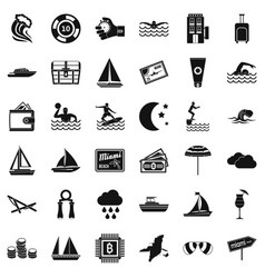 Water sport icons set simple style vector