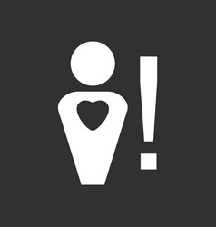 White icon on black background man with heart sign vector