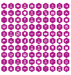 100 favorite work icons hexagon violet vector image