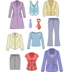 Top manager woman clothes set vector