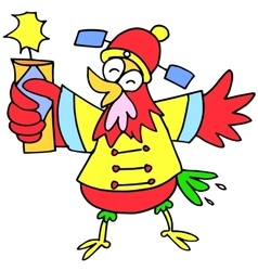 Character of rooster with firecracker vector image