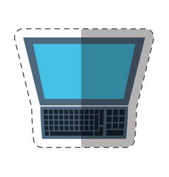 Laptop study technology cut line vector