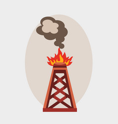Oil industry burning production station extracting vector