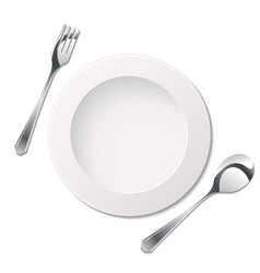 Cutlery with plate vector