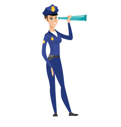 Police officer monitoring safety with spyglass vector