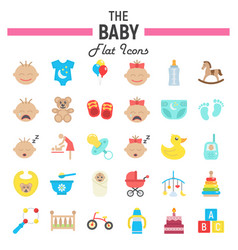 Baby flat icon set kid symbols collection vector