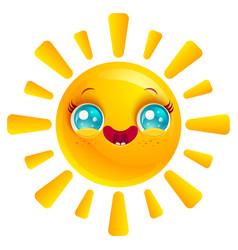 Sun in kawaii style vector