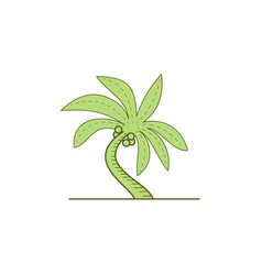 Curved palm tree mono line vector
