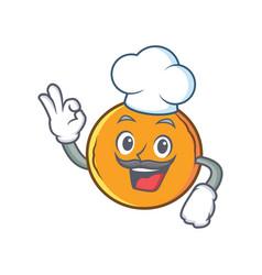 Chef orange fruit cartoon character vector