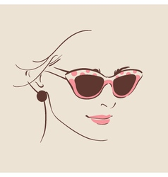 Beautiful woman in glasses with earring vector