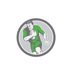Rugby player running ball circle retro vector
