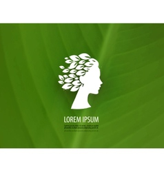 Head of a young girl on the green  logo icon vector