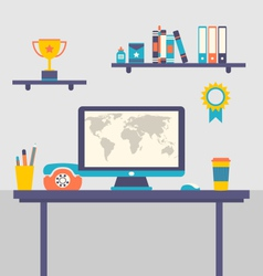 Flat design of office workspace creative worker - vector