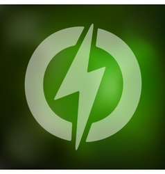 Lightning bolt icon on blurred background vector