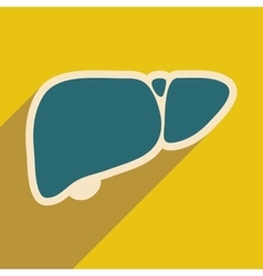 Icon of human liver in flat style vector