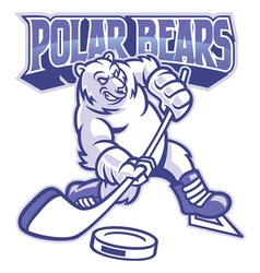 Polar bear ice hockey mascot vector