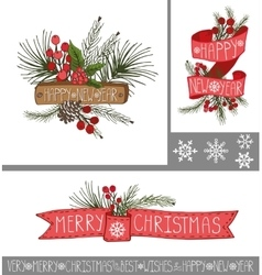 Christmasnew year greeting cardsbanners vector