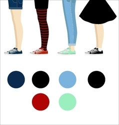 Female legs with gumshoes assortment vector