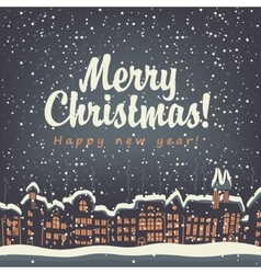 Christmas card old city vector