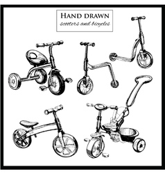 Set hand drawn scooters and bicycles vector