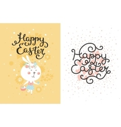 Set of easter cards with bunny egg vector