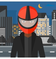 Woman in biker helmet vector