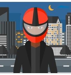 Woman in biker helmet vector