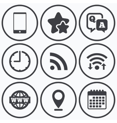 Question answer icon smartphone and chat bubble vector