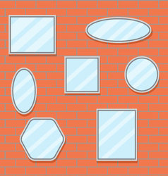 Mirror set design brick wall vector