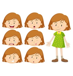 Little girl with many facial expressions vector