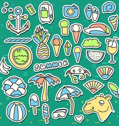 Set of isolated objects background with summer vector