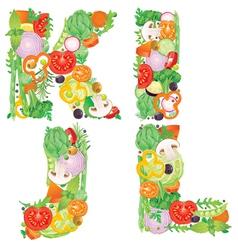 Alphabet of vegetables IJKL vector image vector image