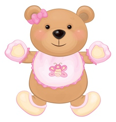 Bear baby girl vector