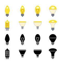 Black silhouettes and colorful light bulbs icons vector